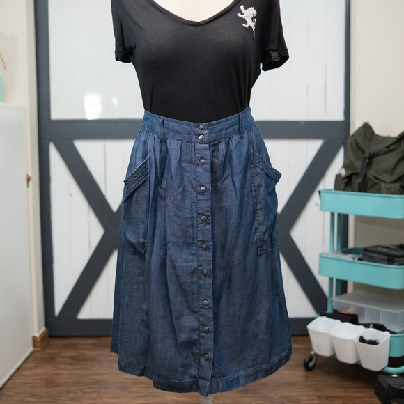 e12d0890b8cb Susina Skirts | Awesome Flowy Button Down Jean Skirt | Poshmark
